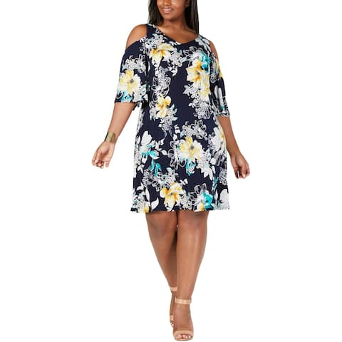 Connected Apparel Womens Plus Wear to Work Dress Printed Cold Shoulder - Navy - 18W