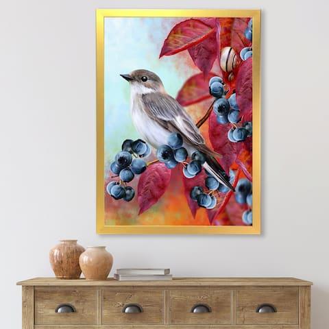Designart 'Little Gray Bird on Red Autumn on Blueberry Twig' Traditional Framed Art Print