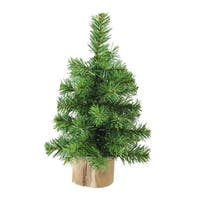 "10"" Alpine Artificial Christmas Tree With Wood Base Table Top Decoration - Unlit - green"