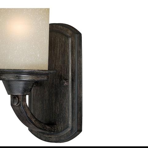 Halifax 1 Light Bronze Rustic Bathroom Wall Fixture - 5-in W x 9.75-in H x 6.75-in D