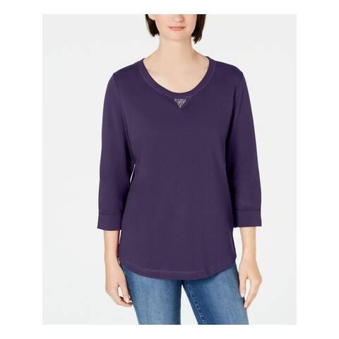 KAREN SCOTT Purple 3/4 Sleeve Sweater M
