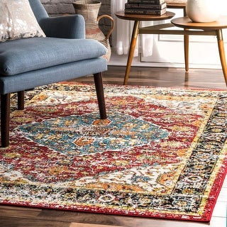 Link to Porch & Den Foothill Vintage Bloom Border  Indoor/ Outdoor Area Rug Similar Items in Transitional Rugs
