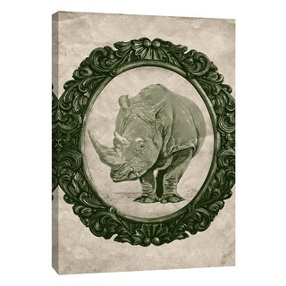 "PTM Images 9-105914  PTM Canvas Collection 10"" x 8"" - ""Framed Rhinoceros in Evergreen"" Giclee Rhinoceroses Art Print on Canvas"