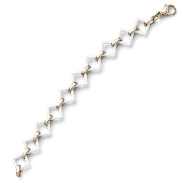 Chisel Stainless Steel and Ceramic Rose IP-plated Squares Bracelet