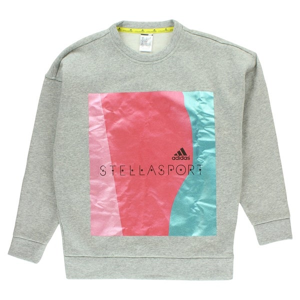 bb178a1bebd01 Shop Adidas Womens Stellasport Metallic Sweatshirt Light Heather Grey -  light heather grey metallic pink metallic aqua - Free Shipping Today -  Overstock - ...