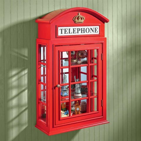 Design Toscano Piccadilly Circus British Telephone Booth Wall Curio Cabinet - 15.5 x 6.5 x 26
