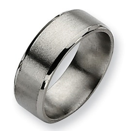 Chisel Beveled Edge Satin and Polished Titanium Ring (8.0 mm)