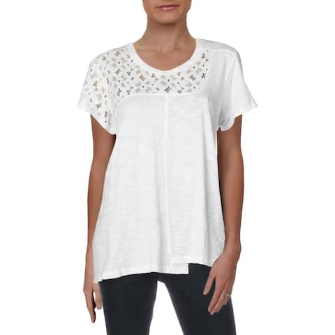 Wilt Womens T-Shirt Cotton Floral Lace - White - L