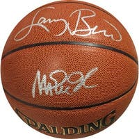 Magic Johnson dual signed Spalding IndoorOutdoor TB NBA Basketball w Larry Bird silver sigs Los Ang
