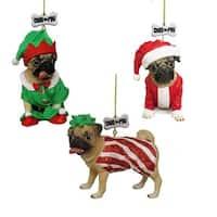 "3.5"" Doug the Pug Dog Festive Christmas Ornaments - (Pack of 12) - multi"
