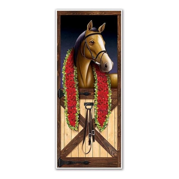 12 Counts Brown Horse Racing Plastic Door Cover 6' - N/A