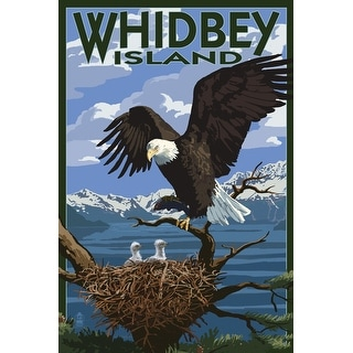 Whidbey Island, WA - Eagle and Chicks - LP Artwork (100% Canvas Tote Bag Gusset