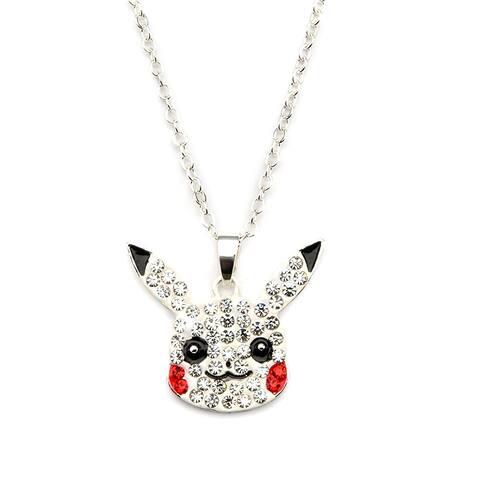 Pokemon Pikachu Face w/ Gems Silver Pendant Necklace