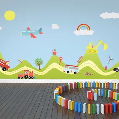 Walplus Happy Hills Happy Cars Wall Sticker Art Nursery Decor Decal