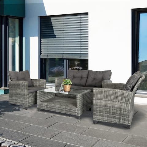 Outsunny 4-piece Outdoor Patio Rattan Furniture Set w/ 2 Chairs, 1 Double Couch, & a Coffee Table & Cushions