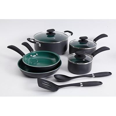 Gibson 109449.1 Eco-Friendly Hummington Aluminum Cookware Set 10Pc Green
