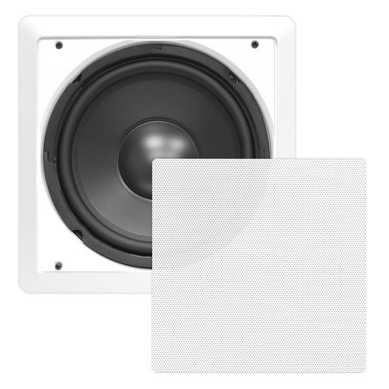 In-Wall / In-Ceiling 10'' High Power Subwoofer System, DVC, Flush Mount, White, Single Speaker