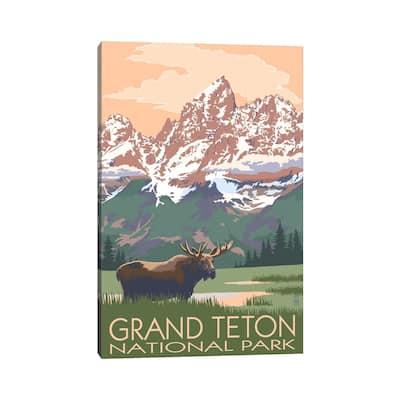 "iCanvas ""Grand Teton National Park (Moose And Teton Range)"" by Lantern Press Canvas Print"