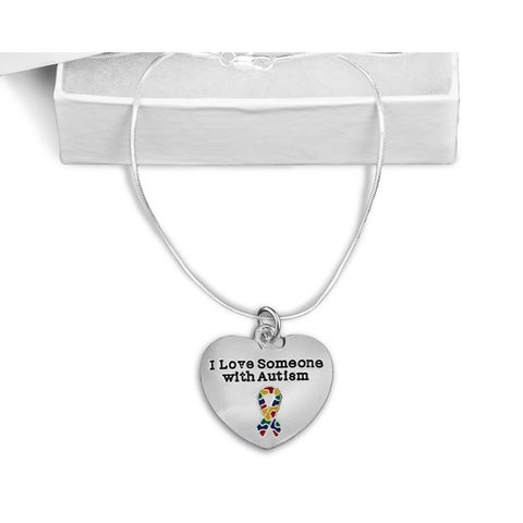 """""""I Love Someone with Autism"""" 16 Inch Silver Necklace"""