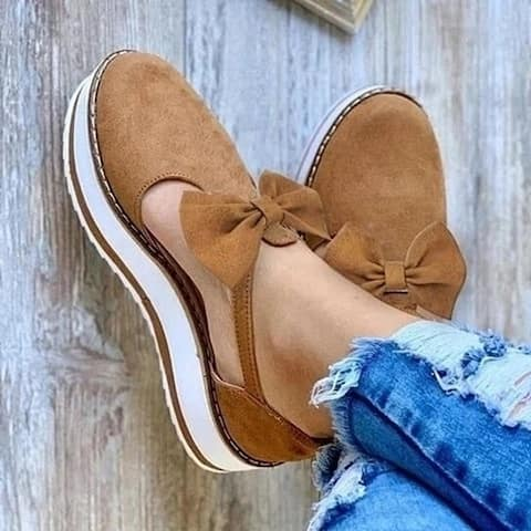 Suede Sneakers With Bow, Comfy Summer Shoes