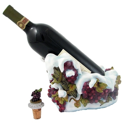 Snow Grapes Wine Bottle Holder with Bottle Stopper - 16.0 in. x 11.0 in. x 11.0 in.