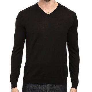Calvin Klein NEW Black Mens Size Small S V-Neck Wool Pullover Sweater