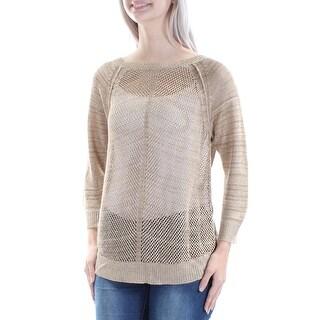 RALPH LAUREN $99 Womens New 1090 Brown Knitted 3/4 Sleeve Sweater S B+B