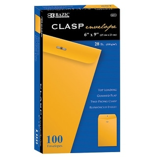 Bazic products bazic clasp envelopes 6 x 9 100 pk