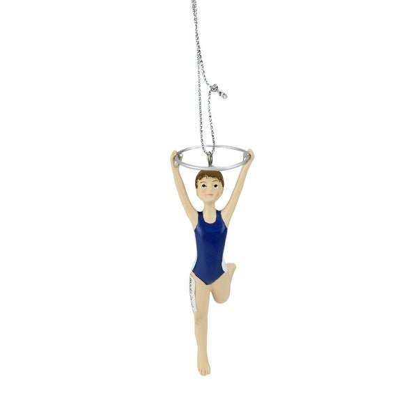 """4"""" Aspiring Gymnast with Ring Resin Christmas Ornament - BLue"""