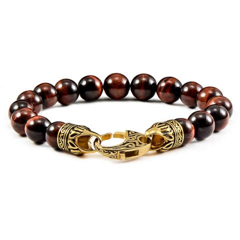 """Tiger's Eye Stone Antiqued Gold Plated Clasp Bracelet (10mm) - 8.25"""""""