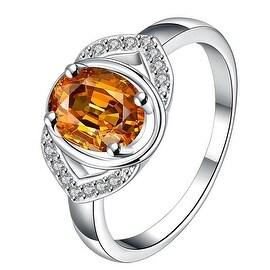 Open Orange Citrine Gem Modern Petite Ring