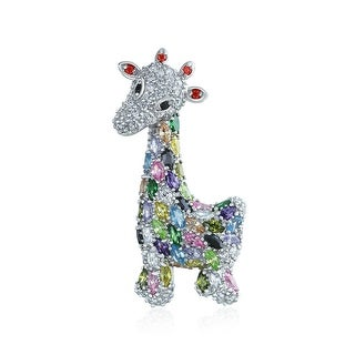 Bling Jewelry Multi Color CZ Giraffe Brooch Animal Pin Rhodium Plated