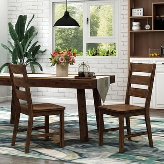 Link to Furniture of America Mass Rustic Walnut Dining Chairs (Set of 2) Similar Items in Kitchen & Dining Room Chairs