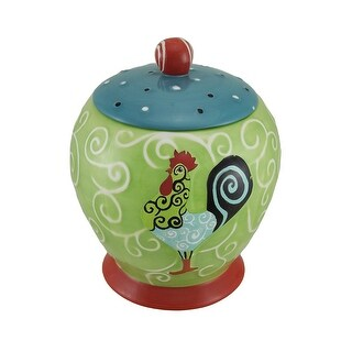 Whirl Of Swirls Multicolor Ceramic Rooster Canister