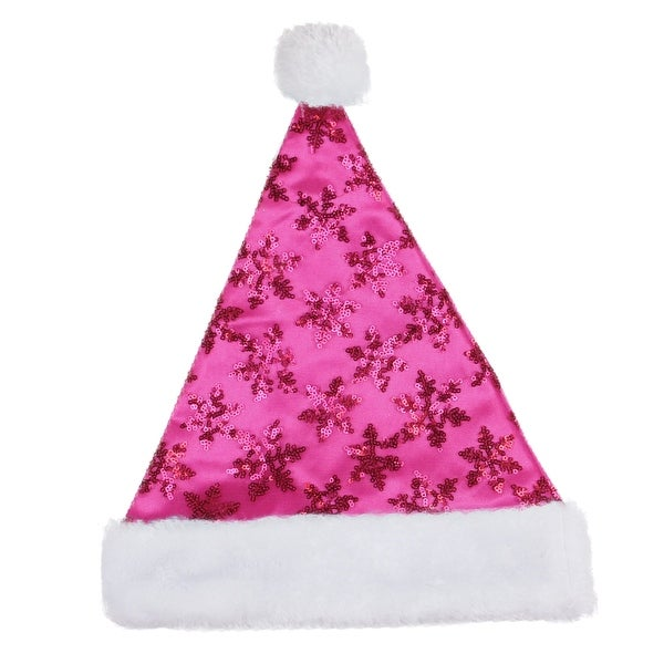 "14"" Pink Sequin Snowflake Christmas Santa Hat with Faux Fur Brim - Medium"