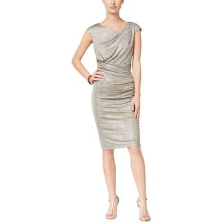 Connected Apparel Womens Petites Cocktail Dress Draped Metallic Shimmer