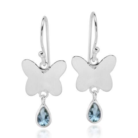 Handmade Light Blue Cubic Zirconia Teardrop Butterflies Sterling Silver Dangle Earrings (Thailand)