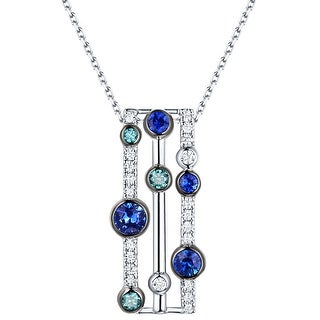 Prism Jewel 0.69Ct Blue Sapphire with Blue & White Diamond Pendant (3 options available)