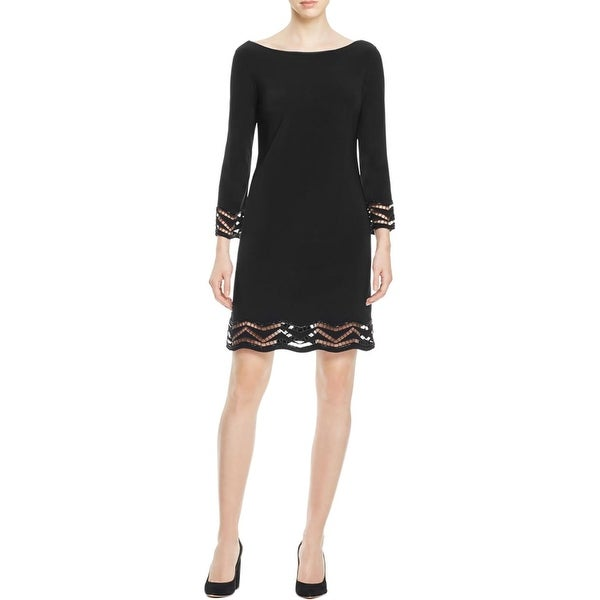 b490d792e9 Shop Laundry by Shelli Segal Womens Cocktail Dress Crotchet Trim 3 4 Sleeves  - Free Shipping On Orders Over  45 - Overstock - 17670976