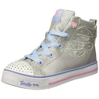 Skechers Kids Girls' Twinkle Lite-Wonder Wingz Sneaker, Silver, 3.5 Medium Us Big