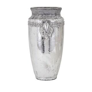 IMAX Home 41011  Tawnee Large Ceramic Vase - Silver