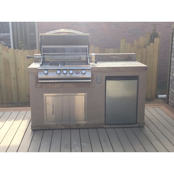 outdoor kitchen burner patio shop cal flame outdoor kitchen 4burner barbecue grill island with refrigerator free shipping today overstockcom 10039183