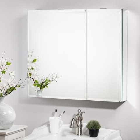 Recessed Frameless 2 Door Medicine Cabinet with 2 Adjustable Shelves