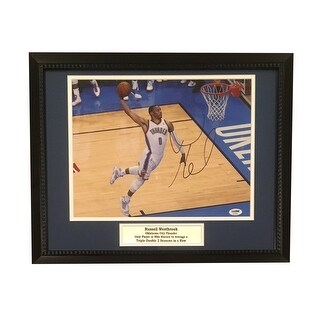 Russell Westbrook Autographed Oklahoma City Thunder Signed Framed 11x14 Basketball Photo PSA DNA CO