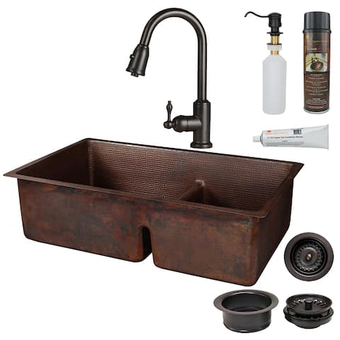 Premier Copper Products KSP2_K60DB33229-SD5 Kitchen Sink, Pull Down Faucet and Accessories Package