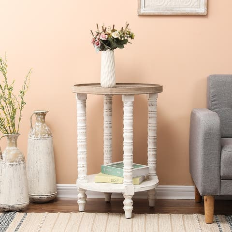 The Gray Barn Dullahan Road White Wood Round Accent Table