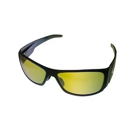 Callaway Golf Mens Sunglass 1113 Black Plastic Rectangle Wrap, Yellow Golf Lens