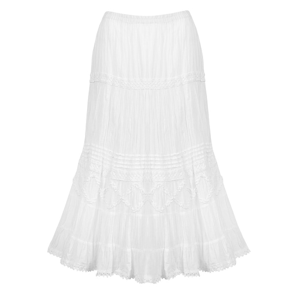 Catalog Classics Women's Tiered Peasant Skirt - White Broomstick Maxi