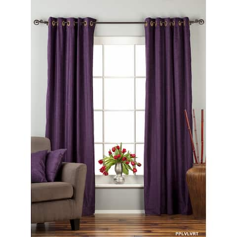 Purple Ring / Grommet Top Velvet Curtain / Drape / Panel - Piece