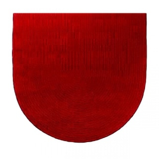Oval Area Rug 6' x 4' Red Cotton